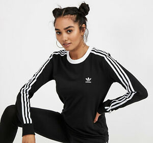 AUTHENTIC ADIDAS LADIES BLACK WHITE COTTON LONG SLEEVED T-SHIRT TOP SIZE 12 BNWT