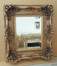 """Large Louis XV Wood/Resin """"32x36"""" Rectangle Beveled Framed Wall Mirror"""