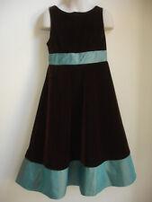 GOOD LAD GIRLS DRESS size 7 BROWN GREEN FEELS VELOUR STUNNING