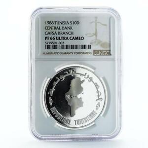 Tunisia 10dinars 30th Anniversary of Central Bank Gafsa PF66NGC silver coin 1988