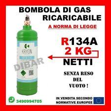 BOMBOLA DI GAS REFRIGERANTE R134A DA 2KG 2,5LT RICARICABILE SENZA RESO DEL VUOTO