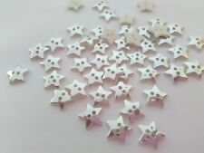 "10 Silver Star Buttons 12mm (1/2"") Acrylic Stars Christmas Sewing Buttons Crafts"