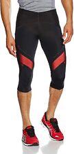Asics Men's Running Tights Leg Balance Knee High Tights - Black/Red - New