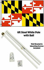 3x5 State of Maryland Flag White Pole Kit Gold Ball Top 3'x5'