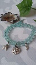 Glas Perlen Armband mit Seestern Muschel Seepferdchen Charms Silber Maritim
