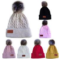 Baby Beanie Hat Boys Girls Cap Cotton Winter Knitted Ball Warm Kids Hats  Gift