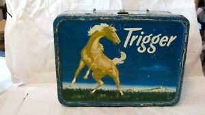 """VINTAGE VERY RARE 1956 """"TRIGGER"""" METAL LUNCH BOX BY KING-SEELEY THERMOS"""