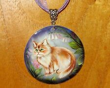 Russian Hand Painted SHELL Pendant Necklace GINGER PERSIAN CAT GORBACHOVA signed