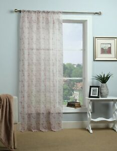 CLEARANCE Butterfly Dusky Pink Single Voile Curtain Panel Slot Top -Free Postage