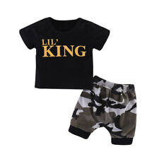 Infant Baby Boys Kids Summer Clothes LIL' KING T-shirt+Camo Shorts Outfits Set