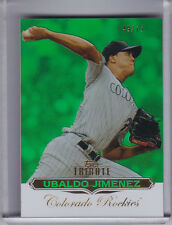 2011 TOPPS TRIBUTE #70 UBALDO JIMENEZ GREEN REFRACTOR COLORADO ROCKIES 49/75
