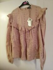 Embroidery Anglaise Blush Colour Long Sleeve Top Size 6 Bnwt