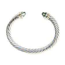 DAVID YURMAN Cable Classic Bracelet with Prasiolite & 14K Gold 7mm $695 NEW