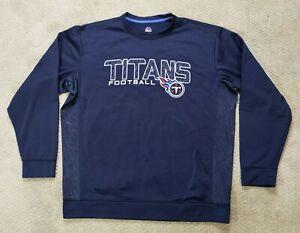 Majestic Tennessee Titans Men's Pullover Sweatshirt Crewneck Fleece Blue Size XL