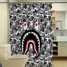 Best New Shark Mouth Camouflage Custom Print Waterproof Fabric Shower Curtain