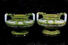 Majolica Earthenware Date-Lined Ceramic Vases
