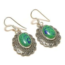 Malachite Oval Gemstone silver plated Handmade Modern Artisan Bezel Earrings