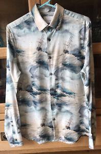Topman Premium Size Small Mens Long Sleeve Button Up Shirt Top Waves/ships