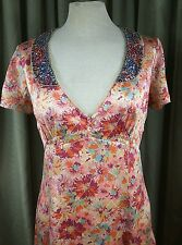 Whistles (London) Silk Floral Empire Line Dress with Sequin Collar - UK8 EU36