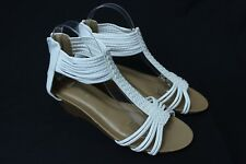 Women's Gold String Gladiator Sandals Wedge Heel Party Shoes White color