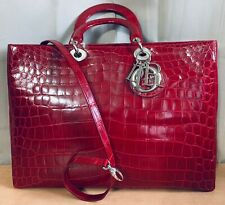 Christian Dior Cherry Red Crocodile Lady Dior Tote Shoulder Bag