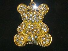 NEW GOLD-TONE SEATED TEDDY BEAR KEY-CHAIN W/CLEAR CRYSTALS COVERING BODY K010