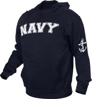 Navy Blue Embroidered US Navy USN Pullover Hooded Sweatshirt