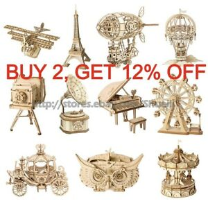 Robotime 3D Wooden Puzzle Model Kits Toy 3d Jigsaw Puzzles Kits Toy Gift Kids