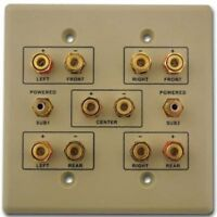 5.2 Home Theater Connection Wall Plate, Ivory