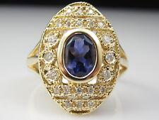 Iolite Diamond Ring 14K Yellow Gold Oval Bezel Set Fine Jewelry Purple Size 9