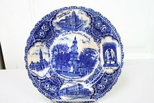 Antique Blue White Plate Views of Philadelphia Flow Blue Liberty Bell City Hall