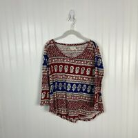 Lucky Brand Top Medium Women Floral Red White Blue Boho Peasant