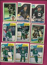 1982-83 TO 1989-90 OPC HARTFORD WHALERS  CARD LOT  (INV#4593)