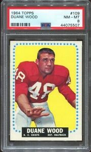 1964 Topps #109 Duane Wood RC PSA 8 Kansas City Chiefs SP Oklahoma State
