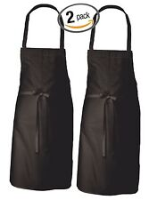2PK WOMAN'S BAKING COOKING KITCHEN SERVING WAITER BIB BLACK APRON 100% COTTON