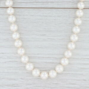 """Pearl Strand Necklace 17"""" 14k Gold Clasp Cultured Saltwater Beads 8.5-9.4mm"""