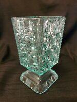 Beautiful Vintage EAPG Apple Green Vaseline Glass Celery Vase Adams Glass