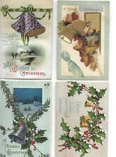 Lot of 4 Different MERRY CHRISTMAS Postcards showing BELLS