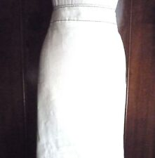 women's skirt white linen size 12 UK 40 EU straight black overstitch detail