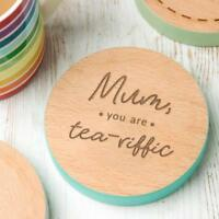 Personalised Christmas Gifts for Mum Small Present Idea TeaRiffic Wooden Coaster