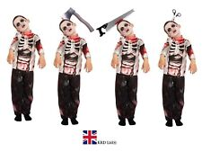 BOYS ZOMBIE COSTUME Kids Scary Halloween Fancy Dress Party Outfit Skeleton UK