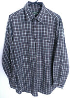 Orvis Mens Size Large Gray Multicolor Plaid Long Sleeve Button Up Shirt