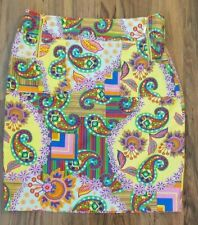 David Meister Womens Size 8 Pencil Skirt Multicolor Side Zippers Pockets Paisley
