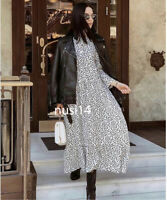 ZARA NEW PRINTED DRESS BLACK WHITE POLKA DOT FLOWING LONG MAXI SIZE XS-XXL