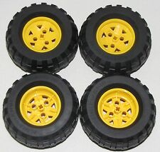 LEGO LOT OF 4 NEW 81.6 X 38R BALLOON TIRES WITH YELLOW 3 PINHOLE HUBS CAR TRUCKS