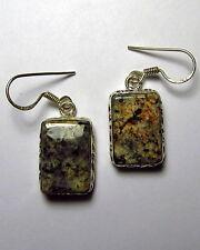 "Fuzzy Granite Dangle Earrings 1-1/2"" Sterling Silver French Hooks  GRAE60"