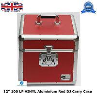 "1 X NEO Aluminium Red DJ Flight Case to Store 100 Vinyl LP 12"" Records STRONG HQ"