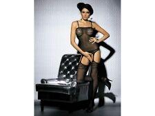 nylonandmore Catsuit Woman G303 Obsessive Schritt offen Body Schwarz S/L Nylons