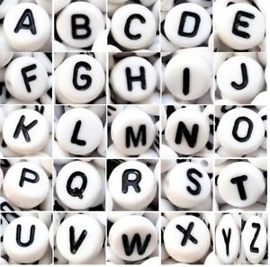 wholesale AAA alphabet letter WHITE disk beads of 7 mm mixed & single A - Z