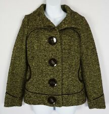 Soia & Kyo Green Brown Boucle Tweed Jacket Elbow Patch Peacoat Sz PS